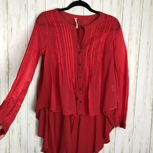 Free people high low xs pink long sleeve